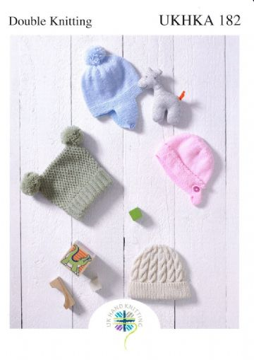 Childrens Hats Knitting Pattern, UKHKA 182